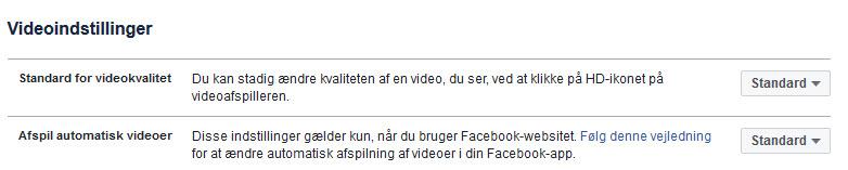 Videoindstillinger FB
